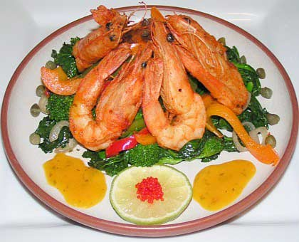 Orange citrus prawns appetizer