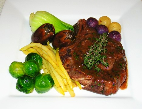Grilled veal chop with port wine sauce