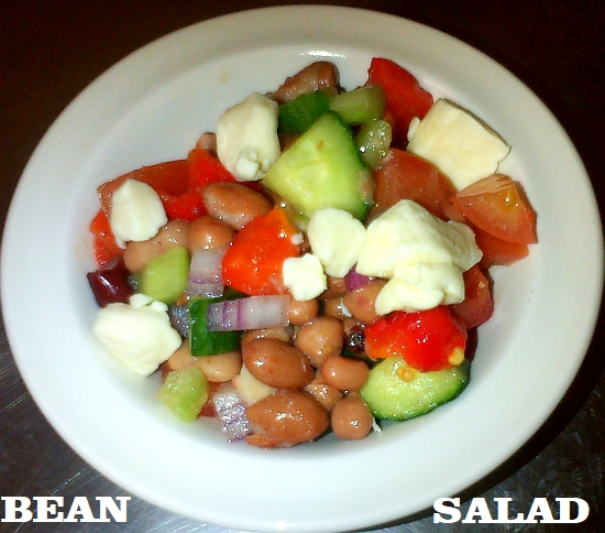 Mixed bean salad with cheese curds