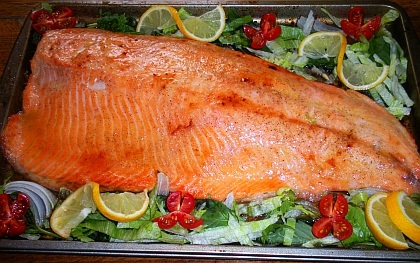 Baked caramelized salmon with brown sugar