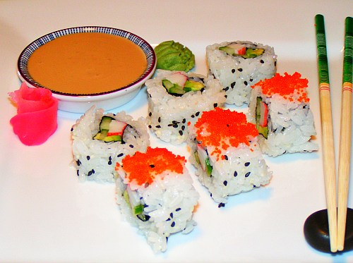 California roll sushi plate