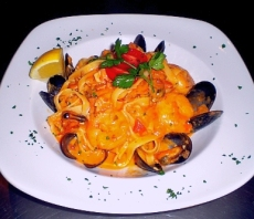 Pasta fettuccine with seafood image
