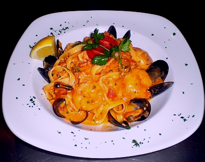 Fettuccine with seafood pasta in blush sauce