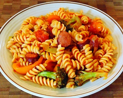 Fusilli pasta with sausage