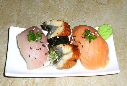 Nigiri sushi of albacore tuna, salmon and bbq eel