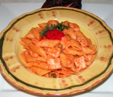 Penne with salmon and caviar in blush sauce