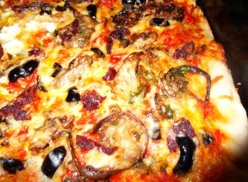 Pizza with roasted eggplant