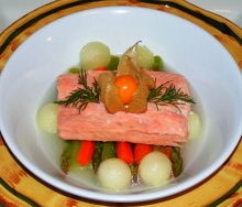 Poached trout fillet appetizer