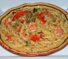 Fusilli with shrimp pasta