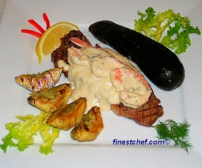 Grilled Steak With Shrimp And Gorgonzola Sauce | FinestChef.com