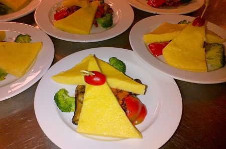 Vegetarian polenta entree with grilled vegetables